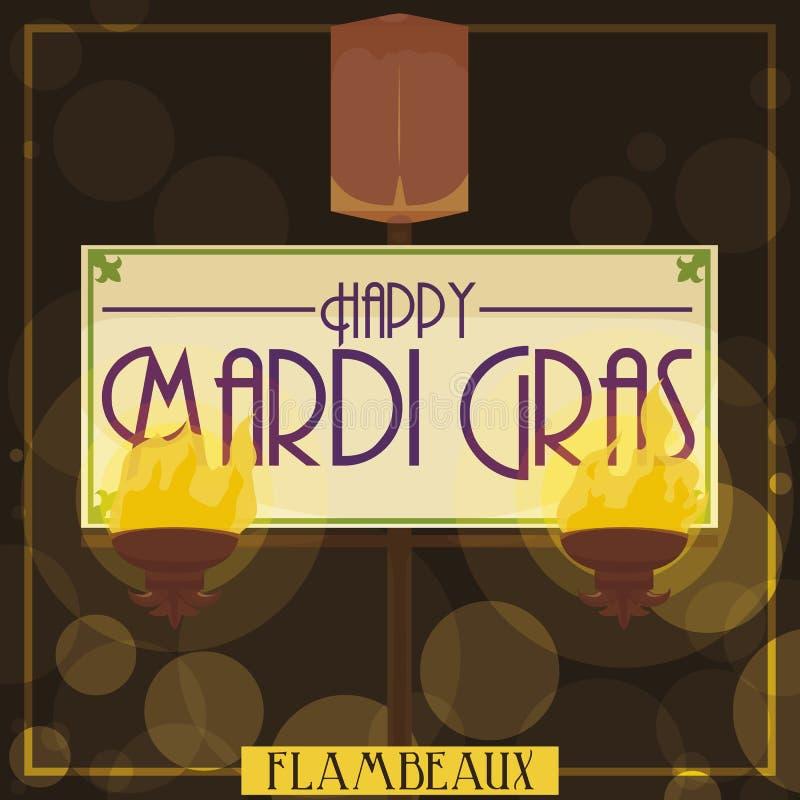 Flambeaux traditionnels avec la salutation pour Mardi Gras Parade, illustration de vecteur illustration de vecteur