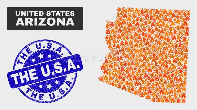 Flambez la carte d'état de l'Arizona de mosaïque et avez rayé U S a filigrane illustration libre de droits