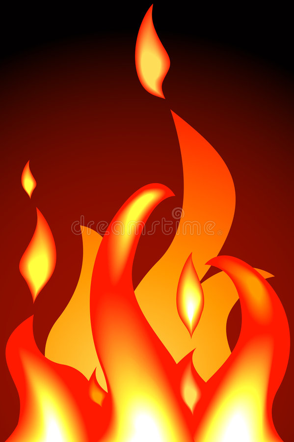 Flame. A fire or flames. Shading by blends, no meshes used vector illustration