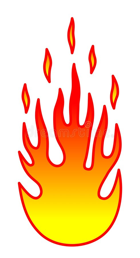 Flame. Hot flame over white background stock illustration