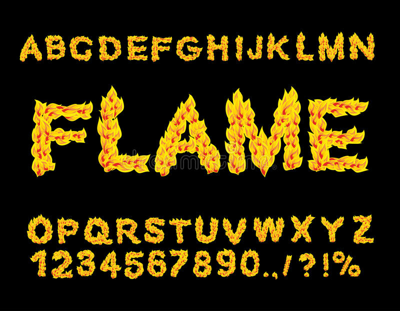 Flame Alphabet. Fire font. Fiery letters. Burning ABC. stock illustration