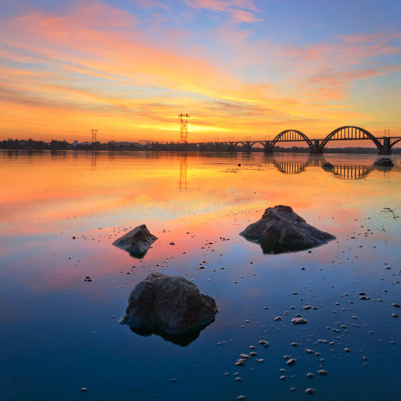 Flame of August. Majestic Sunrise on the Dnieper. Dnipropetrovsk, Ukraine royalty free stock photos