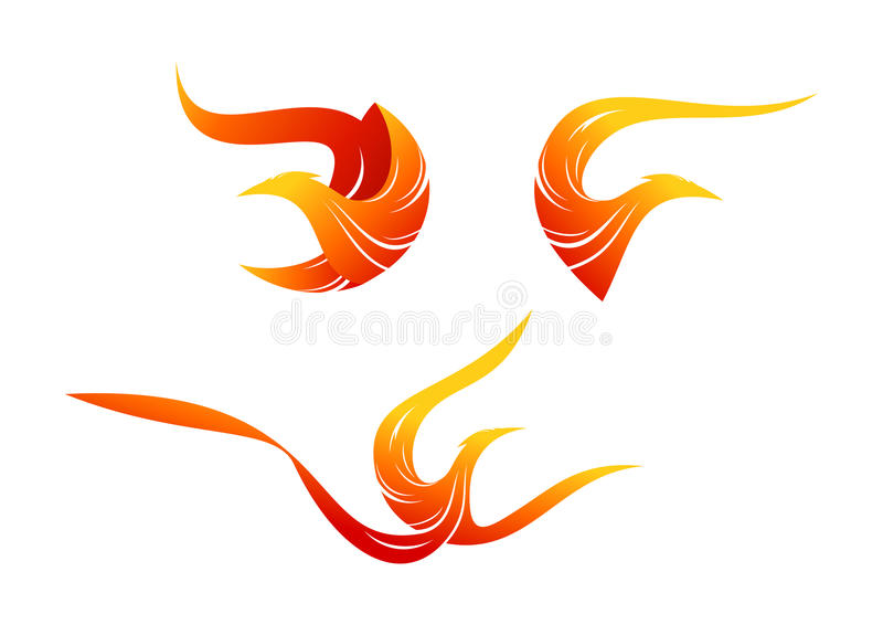 Flame bird logo, phoenix symbol design royalty free illustration