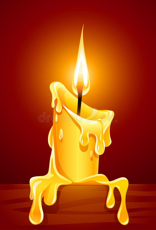 Flame of burning candle with dripping wax stock illustration