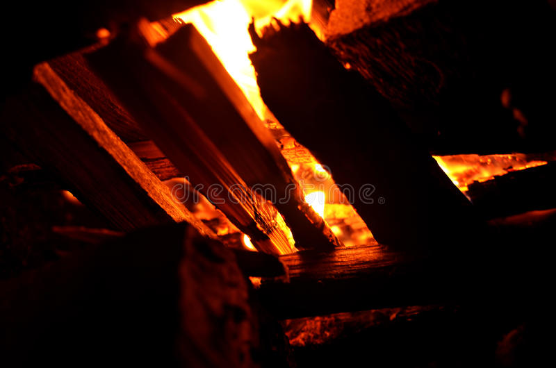 Flame of burning fire for the black background. Outdoor burning fire and smoke royalty free stock photography