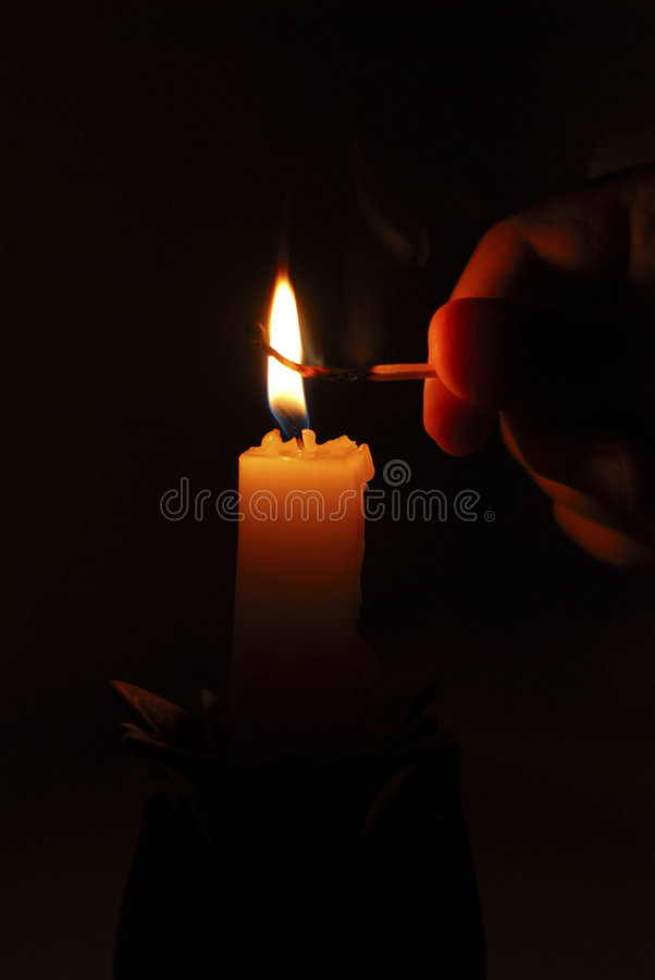Download Flame Of Candle, Matchstick And Finger In The Dark Stock Photo - Image: 4668876