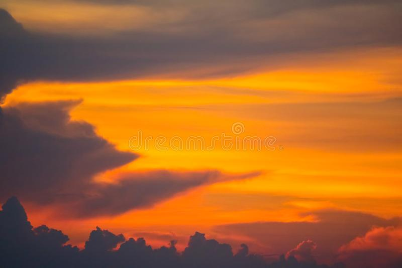 Flame cloud sunset on sea and ray colorful sky. Background, abstract, beauty, blue, boat, bright, cloudscape, dark, dramatic, dusk, evening, fisherman, fishing royalty free stock photo