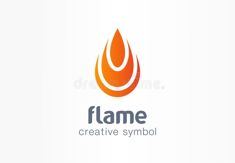 Flame creative symbol concept. Fire energy in drop shape abstract business logo. Flammable water fuel power, ignite heat vector illustration