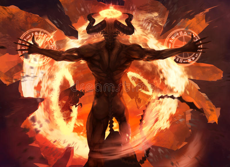 Flame demon. Burning diabolic demon summons evil forces and opens hell portal with ancient alchemy signs illustration stock illustration