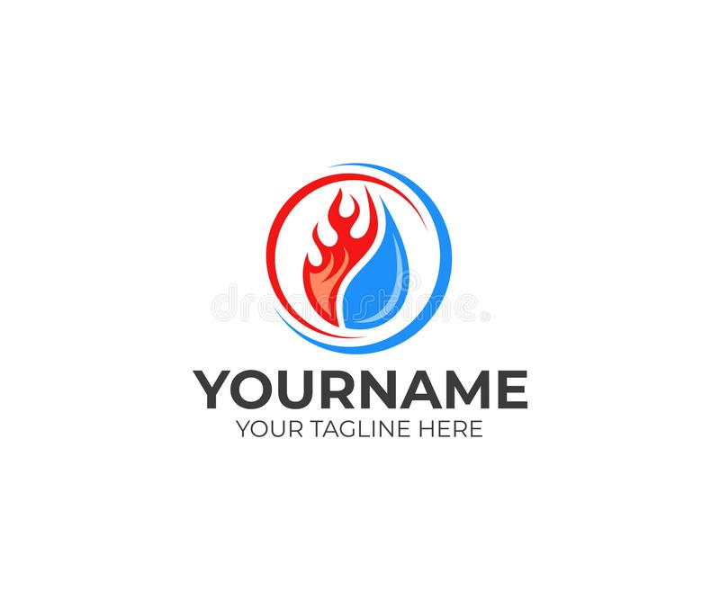 Flame and drop water, cooling and heating logo template. Plumbing, heating, gas supply, air conditioner, service and repair vector. Design. Renewable energy royalty free illustration