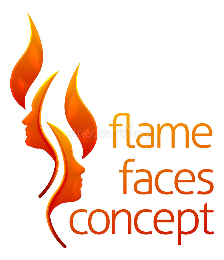 Flame Faces Concept. Flame face concept of fire forming a man and a womans faces in profile stock illustration