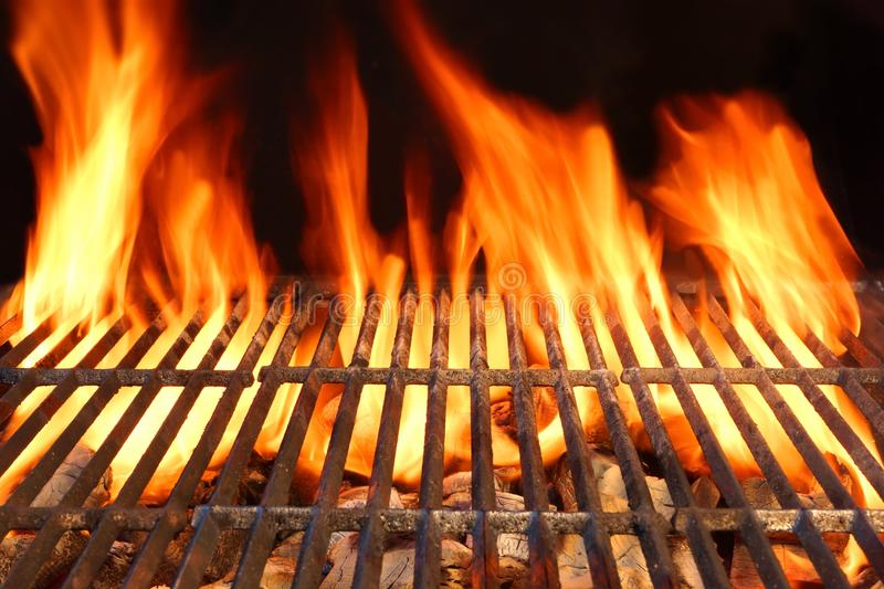Flame Fire Empty Hot Barbecue Charcoal Grill With Glowing Coals. On Black Background stock images