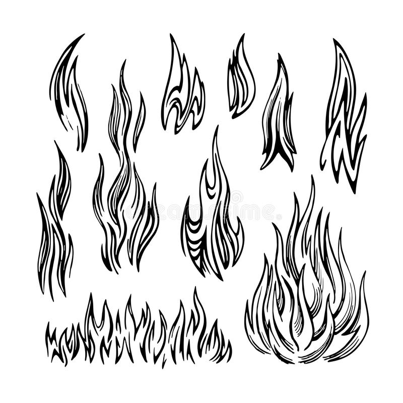 Flame Fire Set sketch stock illustration