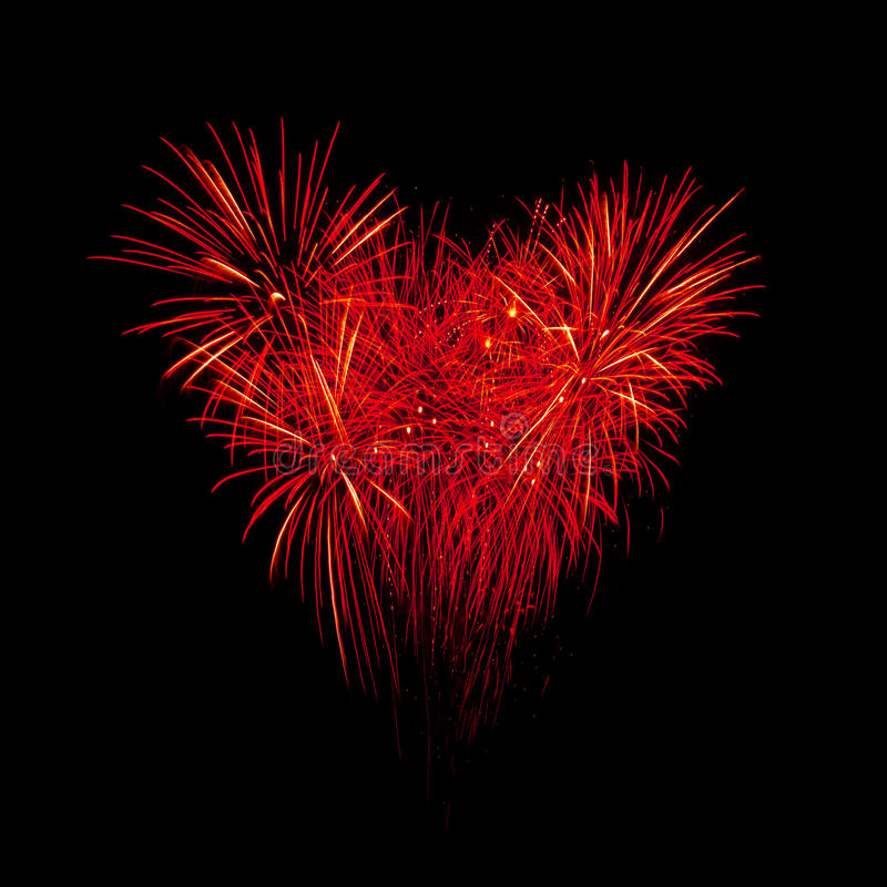 Download Flame Fireworks In Heart Shape Stock Image - Image: 28760743