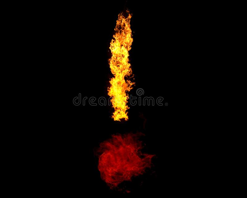 Flame in form of exclamation mark stock photos