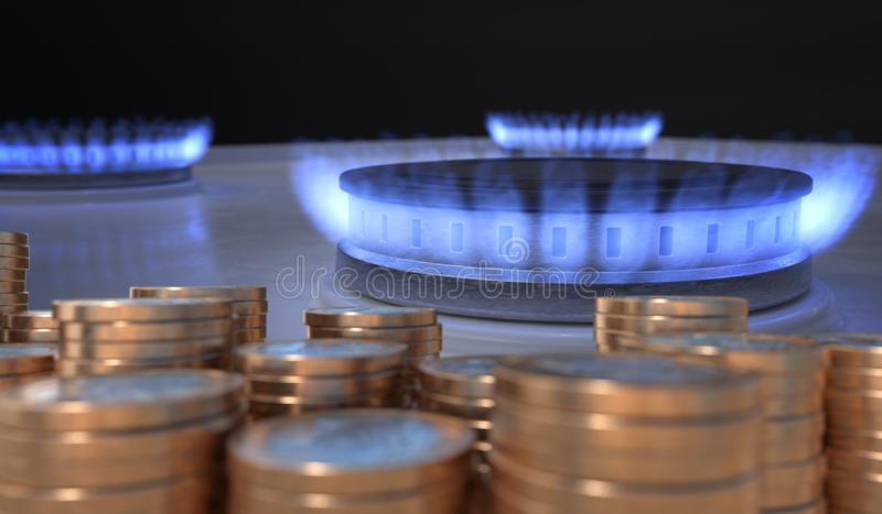 Flame from gas burner and money in front. 3D rendered illustration.  vector illustration