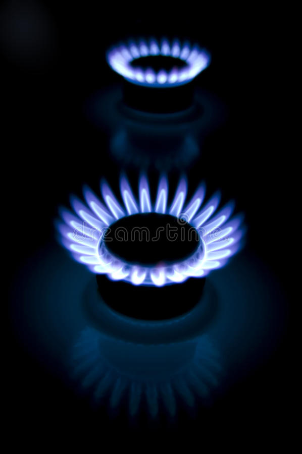 Flame of a gas cooker royalty free stock image