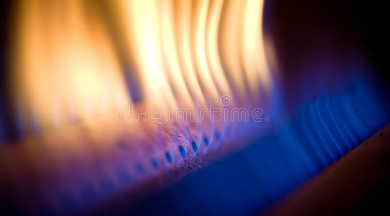 Flame of a gas torch stock photos