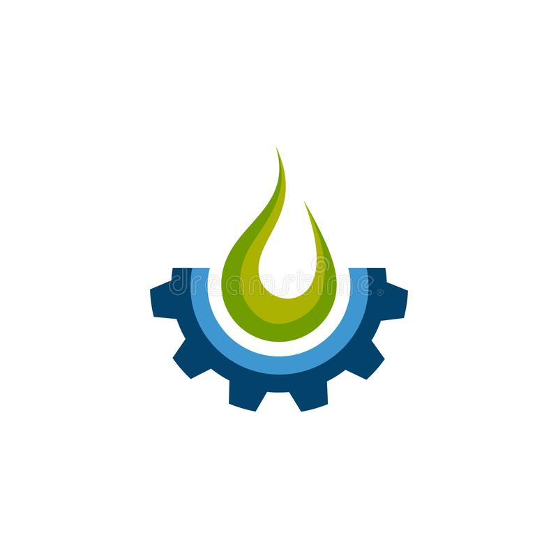 Flame and gear industrial logo design illustration. Fire Gear Icon Logo Design Element. Vector fire and gear logo combination stock illustration