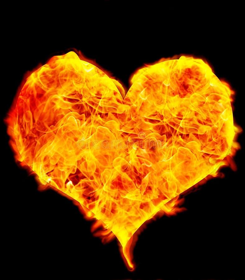 Flame Heart on Black. Background royalty free illustration