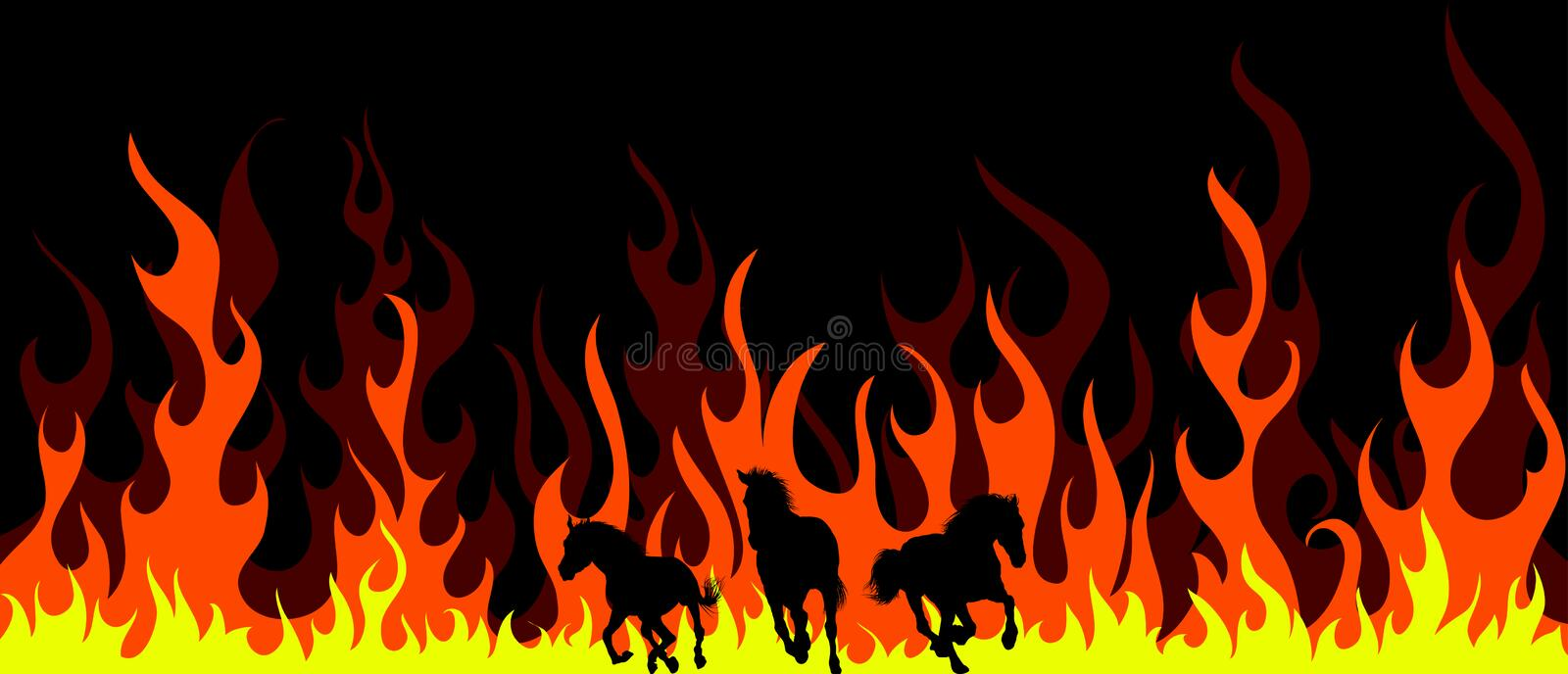 Flame horses stock image