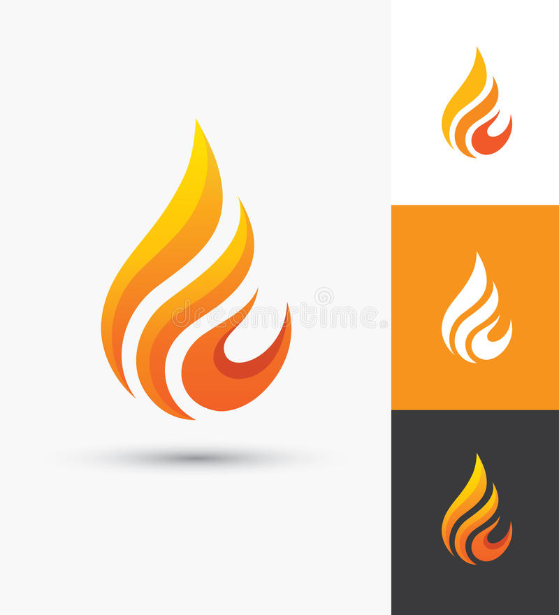 Flame icon in a shape of droplet royalty free illustration
