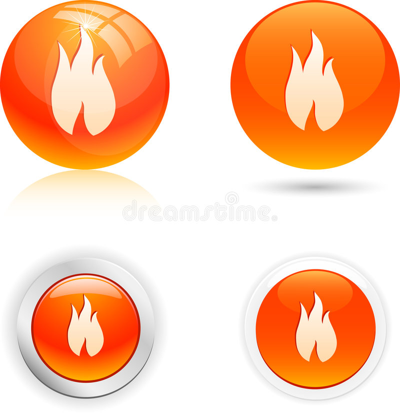 Flame icons. Beautiful flame icons. Vector illustration
