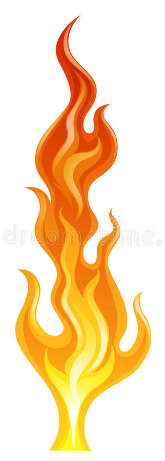 A flame. Illustration of a flame on a white background royalty free illustration