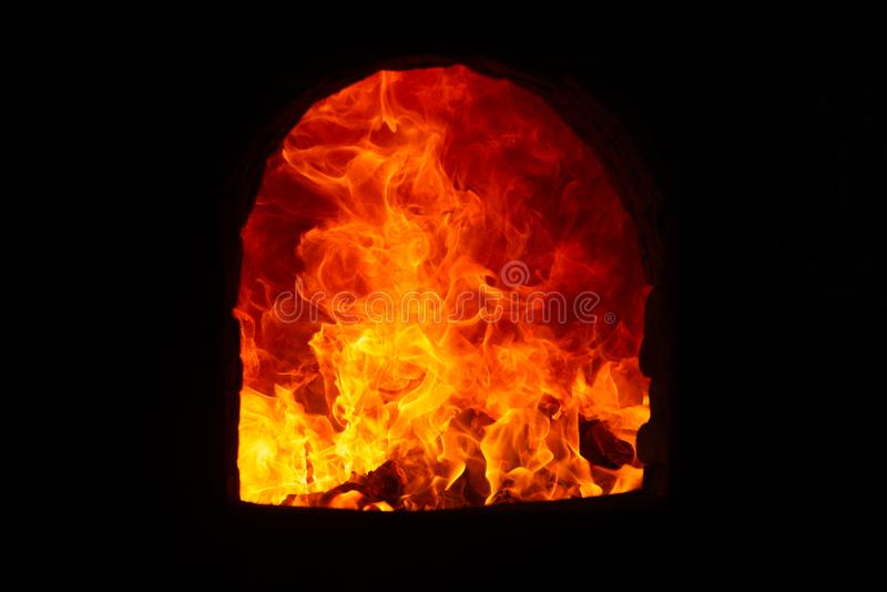 Flame in the incinerator stock images