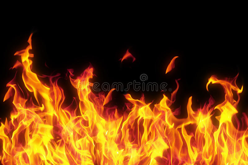 Flame isolated over black background stock photos
