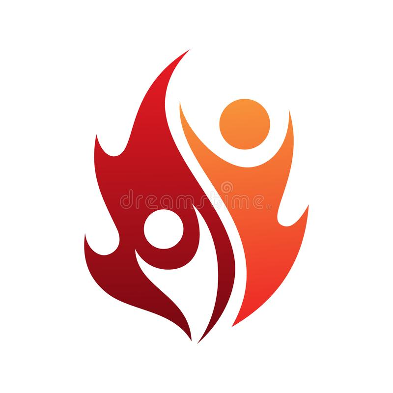 Flame life vector icon with two people in abstract style on the white background royalty free illustration