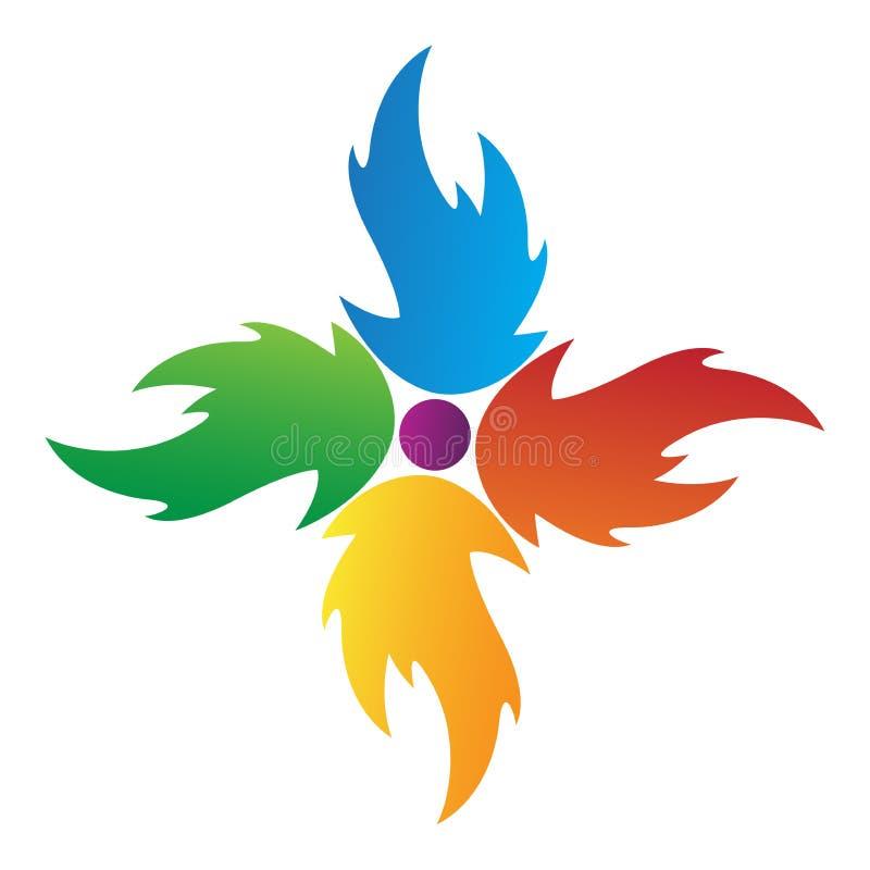 Flame logo. Illustration of colourful flame logo isolated on white background royalty free illustration