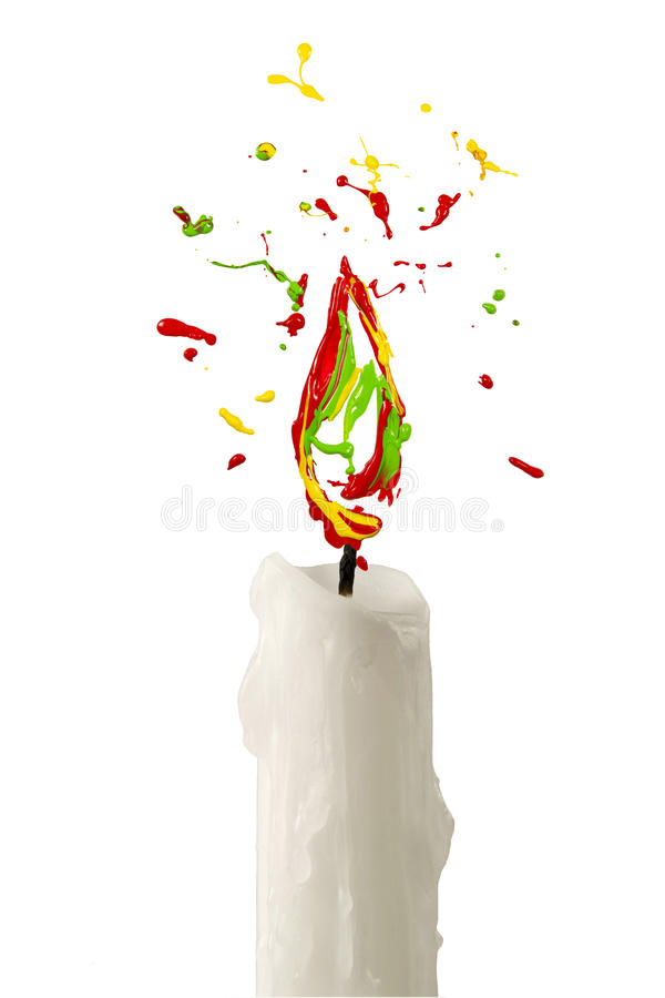 Flame made of multicolor paint. Candle with flame made of multicolor paint royalty free illustration