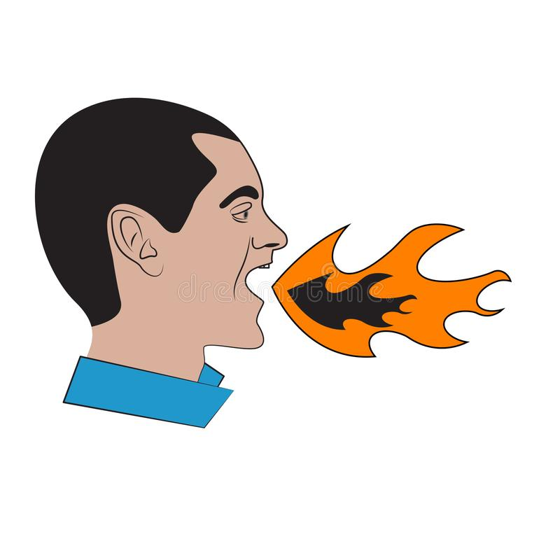 Flame. Man with flame in his mouth. Concept of heartburn, bad breath. Angry, aggressive man shouting. Vector stock illustration
