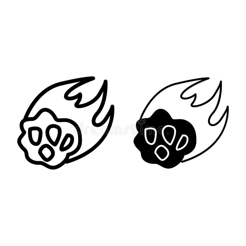 Flame meteorite line and glyph icon. Asteroid vector illustration isolated on white. Comet outline style design stock illustration