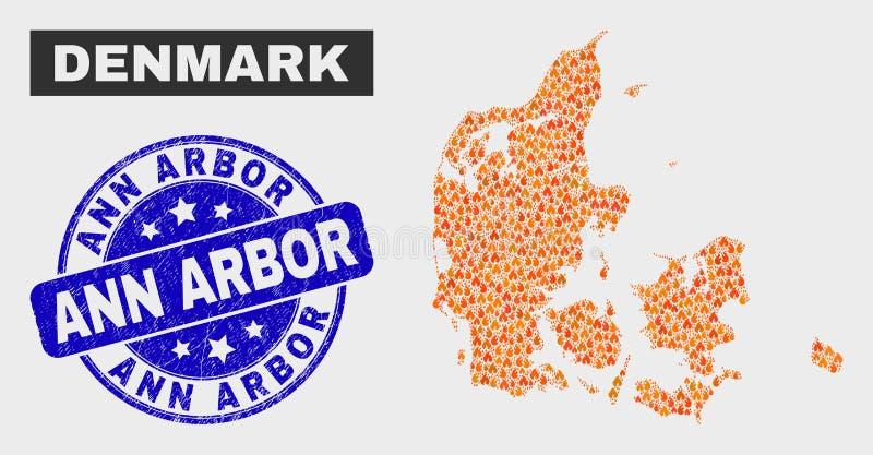Flame Mosaico Dinamarca Mapa e Grunge Ann Arbor Seal ilustração royalty free