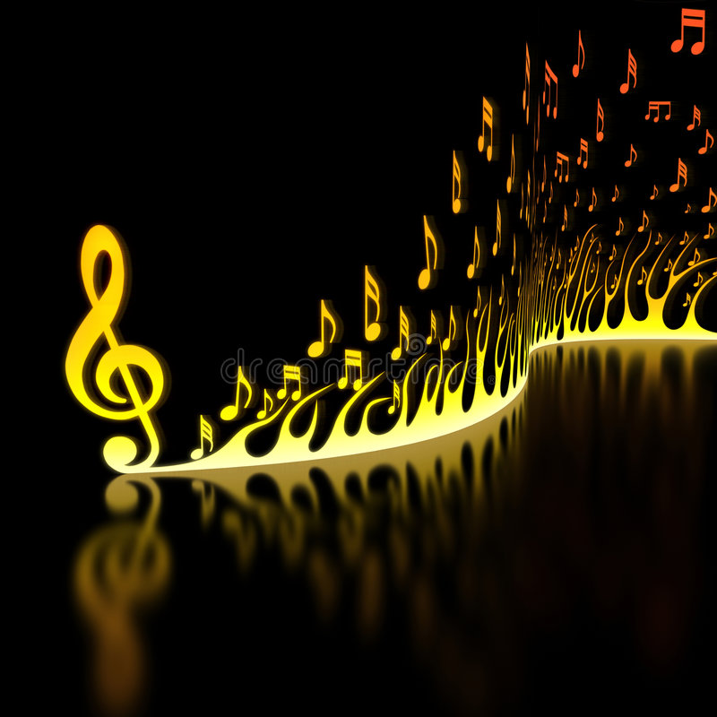Flame of Musical Notes. On the reflective floor royalty free illustration