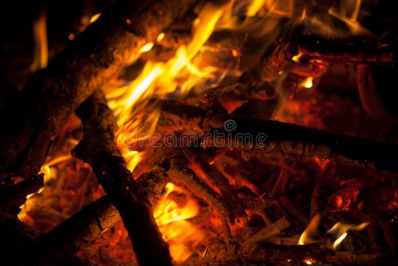 Night fire closeup. Flame of night fire closeup stock photography