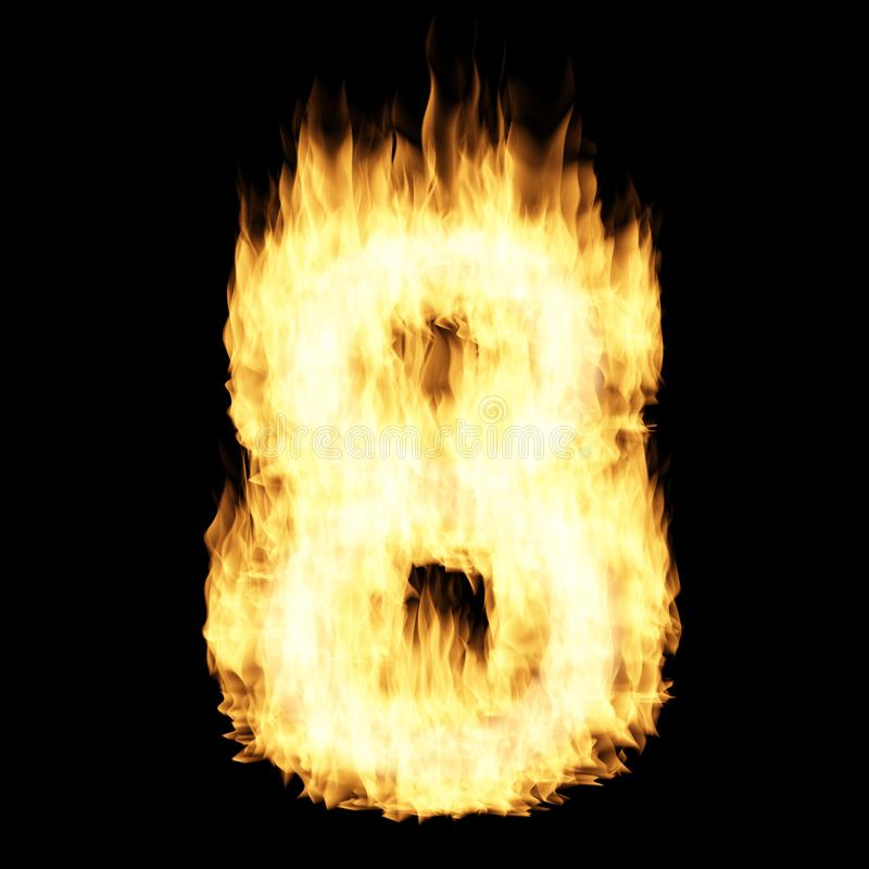 Flame number Eight. 3D illustration stock illustration