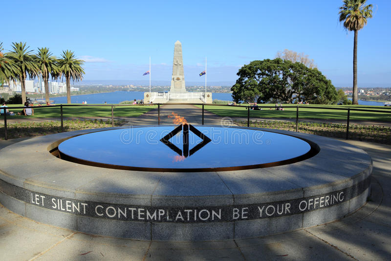 Flame of Remembrance. Dedicated by Her Majesty Queen Elizabeth II in 1954 - the Court of Contemplation commemorates the conflicts, in which Western royalty free stock images