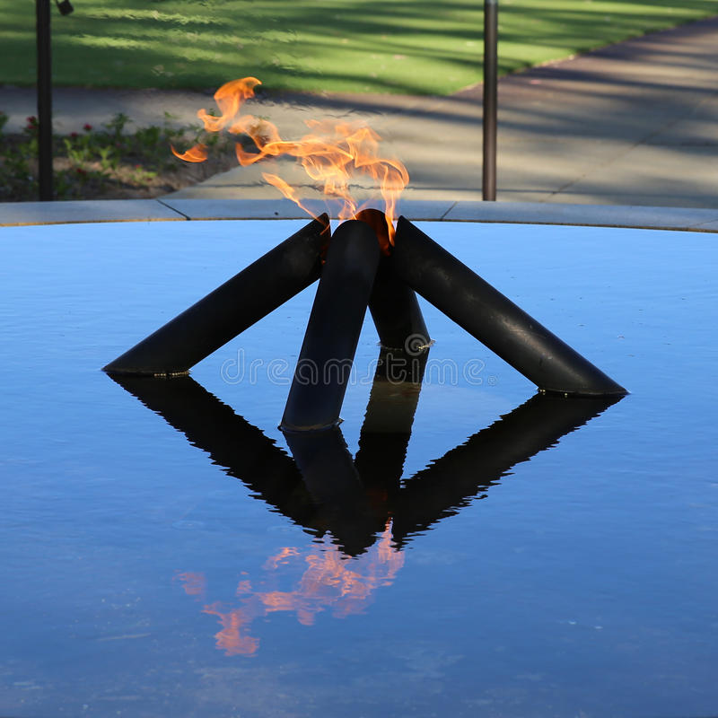 Flame of Remembrance. Dedicated by Her Majesty Queen Elizabeth II in 1954 - the Court of Contemplation commemorates the conflicts, in which Western royalty free stock image