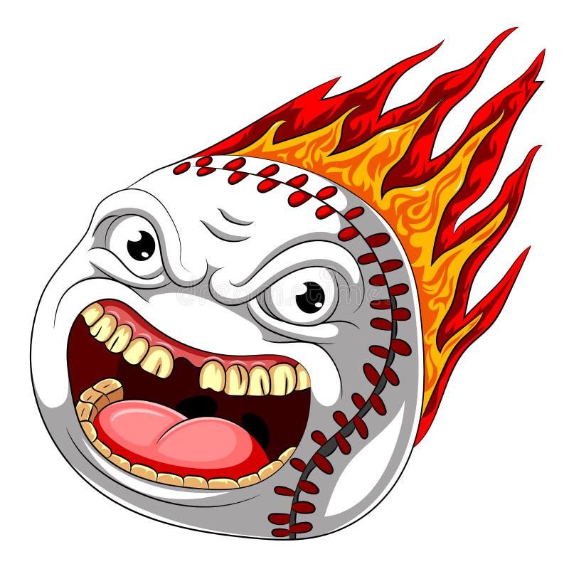 Flame scary baseball ball burn hot royalty free illustration
