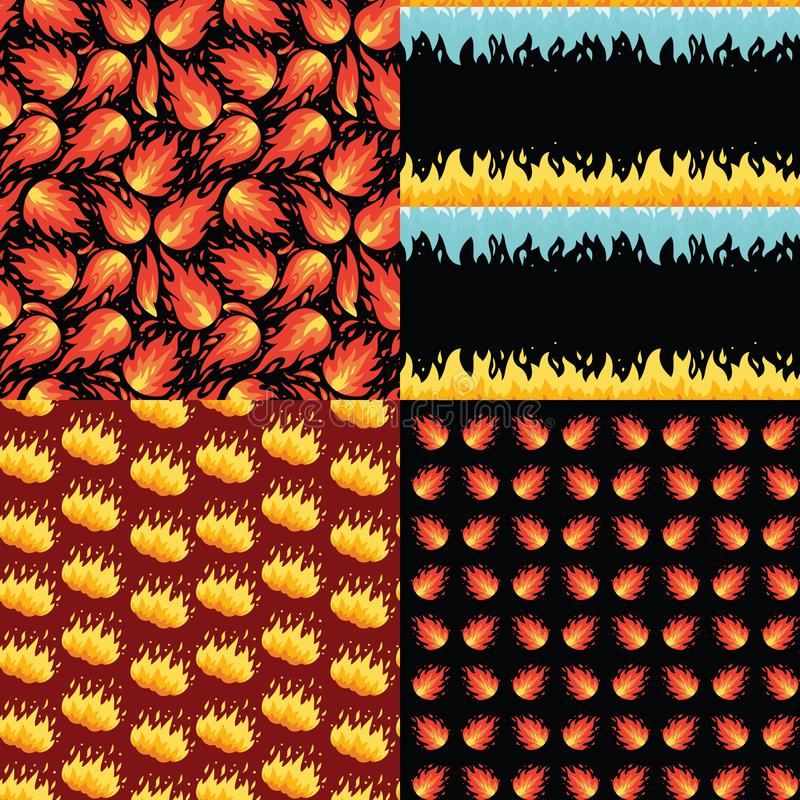 Flame seamless pattern set. Vector fire background. stock image