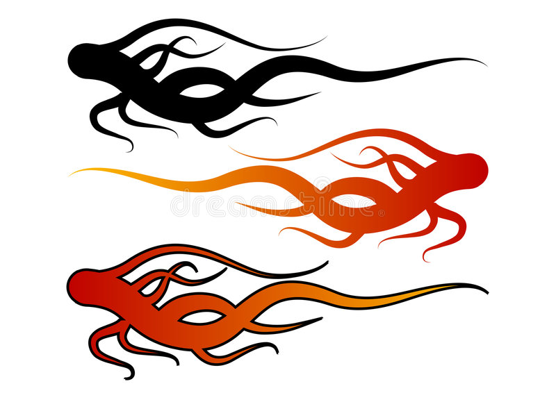 Flame shapes. Three flame shapes with different colors. Use them individually or together. You can change colors easily stock illustration