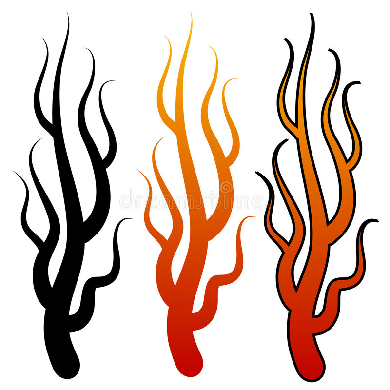 Flame shapes. Three flame shapes with different colors. Use them individually or together. You can change colors easily royalty free illustration