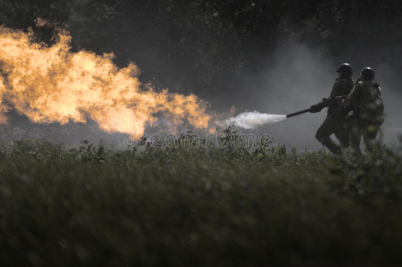 Flame-thrower stock photos