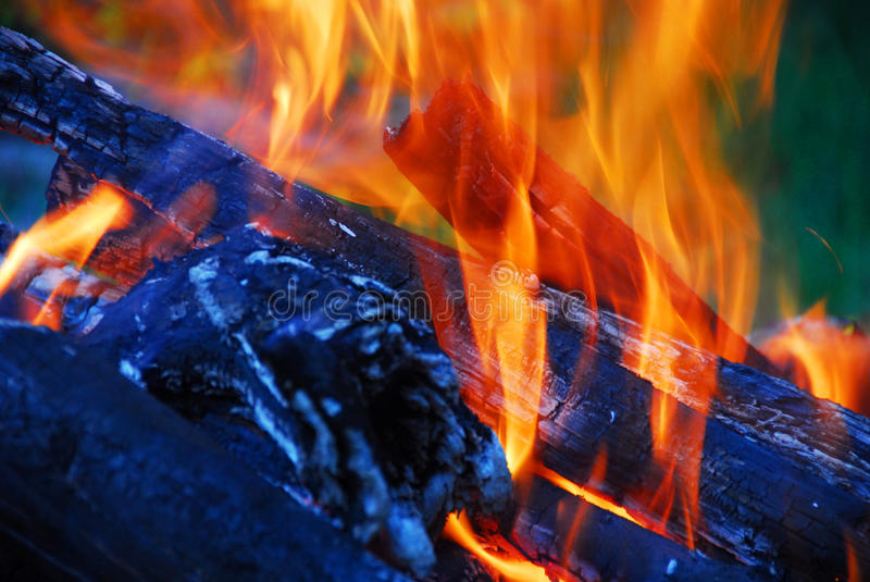Download Flame Tips In The Fireplace Stock Image - Image: 13073423
