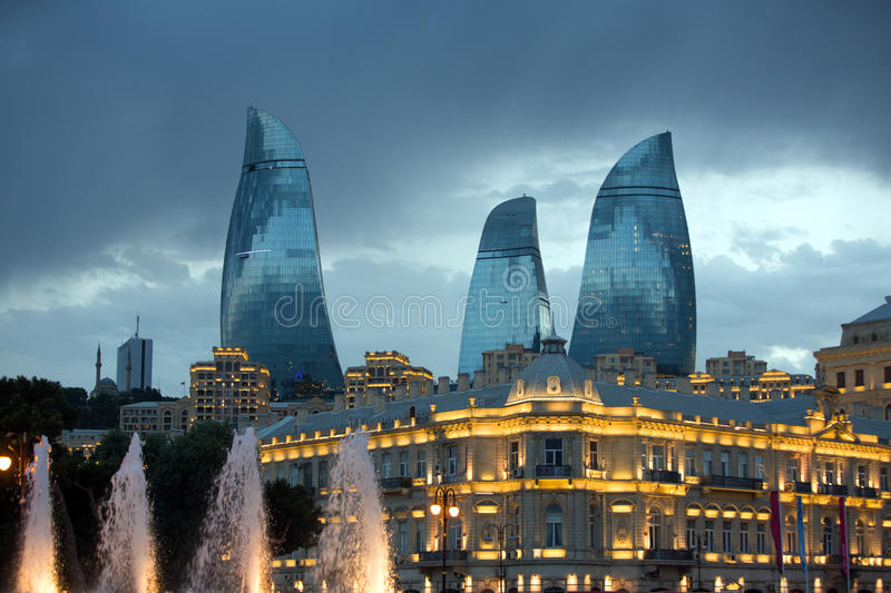 Flame Towers from Baku. BAKU, AZERBAIJAN - June 27, 2015. Flame Towers from Baku. Is the tallest skyscraper in Baku.The assembly is composed from apartments royalty free stock images