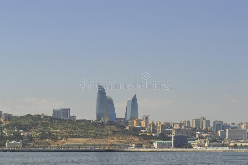 Flame towers and cityscape of Baku royalty free stock photography