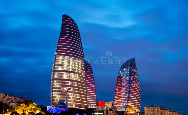 Flame Towers on March 9 in Azerbaijan, Bak. Baku - MARCH 9, 2014: Flame Towers on March 9 in Azerbaijan, Baku. Flame Towers are new skyscrapers in Baku stock photo